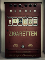 an old one... (genelabo) Tags: old red rot alt zigaretten cigarettes prototyp hamburg iphone lightroom automat museum