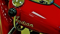 Red Indian Tank (Tim @ Photovisions) Tags: indianmotorcycle red cycle vintage tank gastank nebraska amca antique
