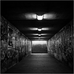 Light Tags / From another World (Thomas Listl) Tags: thomaslistl blackandwhite noiretblanc biancoenegro urban underground path tunnel subway underpass contrasts würzburg grombühl analog filmphotography yashica yashicamat124g kodak trix square light graffiti steps lamps vanishing dark mood atmosphere