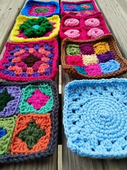 A long side view of the eight rehabbed crochet squares (crochetbug13) Tags: crochetbug crochet crocheted crocheting crochetsquares grannysquares