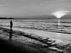 Enjoying the Sea! (Ageeth van Geest) Tags: 7dwf strand beach iphone sunset monochrome blackandwhite bw sea zee hoekvanholland