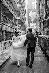 Graffiti, Runners and a Wedding (SemiXposed) Tags: melbourne street alleyway laneway outdoors wedding dress bride groom day
