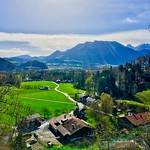 View over the river Inn valley with Kaiser mountains near Niederaudorf, Bavaria, Germany thumbnail