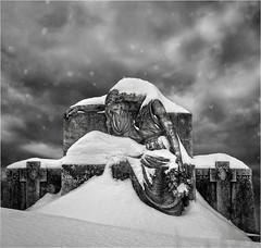 snow and sorrow (montrealmaggie) Tags: snow winter cold sad sorrow monument grave sky white