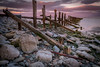 19th March 2018 (Rob Sutherland) Tags: aldingham bay beach britain british coast coastal cumbria cumbrian england english evening furness irish march morecambe north northwest northern peninsula rural sea seascape seaside sunset ulverston groyne wood wooden structure fence worn eroded rocks rocky stoney stone stones rock boulder boulders