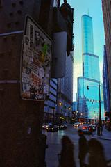 Signs Of The Times.jpg (Milosh Kosanovich) Tags: chicagophotographicart chicagophotoart cinestillc41kitblixseparated chicago nikonf100 miloshkosanovich wabashavenue mickchgo grafitti trafficsign chicagophotographicartscom trumptower cinestill800t