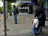 `2217 (roll the dice) Tags: london kensingtonchelsea w11 w10 mad fun funny sign glass window reflection sad surreal people fashion streetphotography bored traffic uk classic art urban england unaware unknown portrait candid stranger shops shopping 2010 warning acciden danger 999 spots paneofglass caution panel advertising what odd