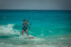 Andrew enjoying kite surfing in the Bahamas