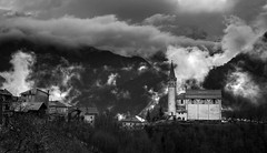 Right after the storm (Robyn Hooz) Tags: sanmartino cadore cime peaks temporale storm case houses veneto montagna mountain clouds grigio bienne biancoenero tourist mood