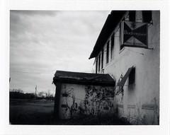 Future City, IL (moominsean) Tags: polaroid 190 instant fuji fp3000b illinois futurecity midwest winter rain budweiser abandoned