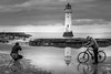 Perch Rock Lighthouse (Pete Mainey) Tags: merseyside waterfront lighthouse monochrome landscape photography fuji fujifilm fujit2 fujiholics fujiholic black white 35mm prime water reflection reflections