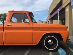 Orange Juice (misterbigidea) Tags: vintage hotwheels keepontrucking dailydriver classic hubcap chrome scenic urban s10 bluesky parking parked beauty americana truck pickup chevrolet chevy orange color