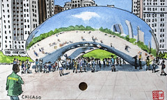 The Bean, Chicago (chando*) Tags: croquis sketch aquarelle watercolor