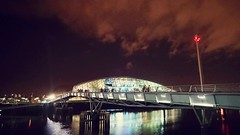 Night sky, Glasgow, Scotland (picsbyCaroline) Tags: photography scotland night city glasgow clyde building bridge architecture lights bright sky skyline clouds weather dark