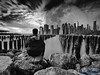Sitting On A Rock And Looking At Another (Brian D' Rozario) Tags: brian19869 briandrozario nikon d750 tokina1116mm nd1000 10stop longexposure manhattan city urban brooklyn moon composite bw blackandwhite water river pier rock planet bigapple strength hope bravery strive faith newyork nyc ny