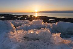 Double soleil couchant/Double sunset/doble puesta de sol (Ceomga) Tags: claudehamel coucherdesoleil sunset puestadelsolprintemps primavera spring glace neige nieve hielo ice snow