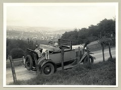 """Ford Model A Cabriolet (Vintage Cars & People) Tags: vintage classic black white """"blackwhite"""" sw photo foto photography automobile car cars motor lady fashion hat fedora ford modela rumbleseat dickyseat dickieseat dickeyseat motherinlawseat cabrio convertible twotone vehicle antique auto 1930s thirties wuppertal"""