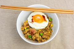 Sunday breakfast. Spam fried cauliflower rice. (garydlum) Tags: egg cauliflower spam soysauce friedegg corn belconnen canberra peas eggs australiancapitalterritory australia au