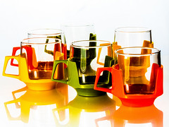 Seventies tea cups (Andy Sut) Tags: backlit reflection vintage studio kitchen teacup seventies plastic glass tableware drink retro sixties design colours mug cup drinking