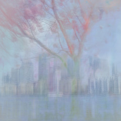 London Docklands in Spring (Jane Simmonds) Tags: iphone icm intentionalcameramovement multipleexposure spring pastels london londondocklands
