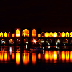 Khaju Bridge, Isfahan (Hamed Saber) Tags: longexposure bridge reflection night river geotagged boat persian interestingness iran persia saber iranian  hamed isfahan farsi   khajou  flickrexplore  zayandehrood   khaju        geo:lon=51683206 geo:lat=32637278