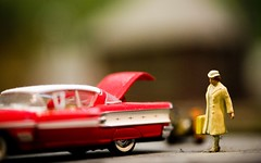 She's Leaving Home (Thomas Hawk) Tags: auto california red woman usa car miniature automobile unitedstates 10 unitedstatesofamerica fav20 figure fourthofjuly eastbay suitcase pleasanton alamedacountyfair derekjeter fav10 fav25 superfave