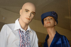 conferring (Orrin) Tags: california mannequin window hat vintage store lenstagged clothing dummies mannequins burbank dummy canonef2470mmf28lusm 2470l tuxedoshirt