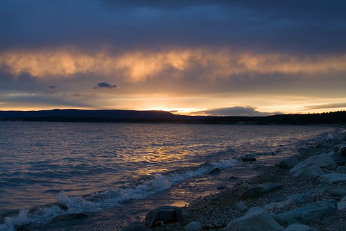 Sunset on the Shore of Yellowstone Lake