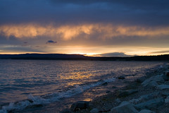 Sunset on the Shore of Yellowstone Lake (Robby Edwards) Tags: sunset vacation lake water nationalpark shoreline shore yellowstonenationalpark yellowstone wyoming yellowstonelake specnature abigfave