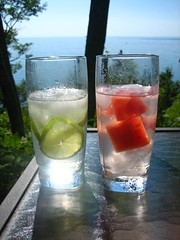 Drinks with a View (Christiaan Leever NL) Tags: ice glass table yummy lemon view drink tasty sugar delicious alcohol icecubes vodka soda cubes lime yumm watermellon