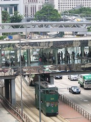 [HK_08] Wan Chai (greenie.nw8) Tags: hongkong traffic lippocentre doubledeckertram elevatedwalkway