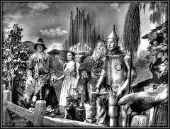 the wizard of oz in b&w (Kris Kros) Tags: california ca old blackandwhite bw usa white black classic film public cali museum photoshop vintage movie dorothy photography la us losangeles 3d interestingness high cool interesting nikon pix boulevard dynamic heart cs2 witch good oz wizard great scarecrow lion ps brain historic wicked hollywood kris wax waxmuseum wizardofoz magical range toto cyclone emeraldcity hdr blvd tinman 1939 kkg coward courage monumental wiz wickedwitch achiever cowardlylion 3xp photomatix goodwitch pscs2 kros kriskros wizofoz kk2k kkgallery