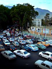 Tehran Traffic Jam (Hamed Saber) Tags: auto street mountains tree cars geotagged ir persian interestingness automobile traffic iran persia billboard stop parkway saber vehicle iranian tehran jam  hamed valieasr farsi    flickrexplore           geo:lon=51416187 geo:lat=35791291