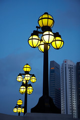 Street Lamps (GenkiGenki) Tags: light sky building lamp night canon eos 350d singapore bluesky lamppost efs boatquay rafflesplace southbridgeroad 1755mm elginbridge efs1755mmf28isusm