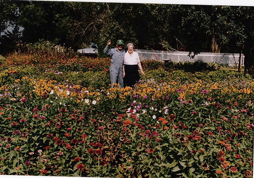 Joe and Leola in their garden