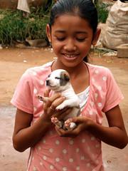 Girl With Little Puppy, Cambodia (Alexander Marc Eckert) Tags: girl puppy cambodge cambodia kambodscha khmer little hund mdchen hundebaby cambodiaalbum
