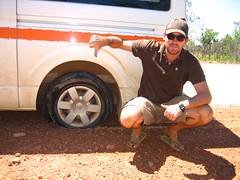 Thumbs Down (Ryan Henderson) Tags: flat ryan australia tire down 2006 outback flattire tyre campervan theroadislife britz ryanhenderson tirethumbs