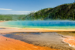 Colorful (Robby Edwards) Tags: vacation nationalpark colorful steam yellowstonenationalpark yellowstone wyoming hotspring bacteria thermal grandprismaticspring midwaygeyserbasin specland