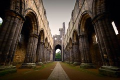 Kirkstall Abbey, Leeds - leeds kirkstall architecture gothic abbey wide ruins angle lpinterior columns wideangle
