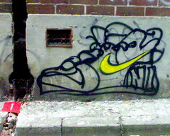 The air vent, down pipe & shoe (yewenyi) Tags: cameraphone street streetart brick art wall painting vent graffiti 1 sydney australia nike nsw newsouthwales paddington gutter aus airvent wallpainting z800 oceania downpipe pc2021 auspctagged easternsuburbs pctagged greatersydney sydneygraffiti perrylane
