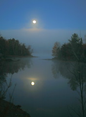 Harvest Moon, Through The Mist, Over Loon Lake, Adirondacks, No.2 (William  Dalton) Tags: moon lake adirondacks fullmoon loonlake harvestmoon bestnaturetnc06