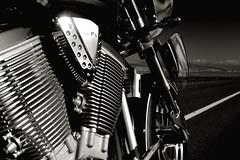 Victory Kingpin@ Meade Lake, NV 2004 (john m flores) Tags: bw motorcycles victory kingpin
