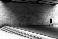 The man under the deck (pascalcolin1) Tags: paris13 homme man pont bridge deck ombre shadow lumière light photoderue streetview urbanarte noiretblanc blackandwhite photopascalcolin 50mm canon50mm canon