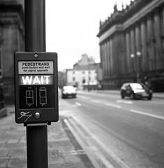 WAIT (Gabo Barreto) Tags: leeds yorkshire england uk pedestriancrossing sign button street pushtowalk box film 120 mediumformat 6x6 fomapan foma 400 selfdeveloped tlr twinlensreflex fd10