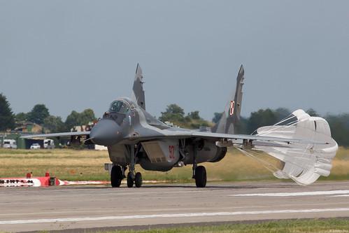 Polish Air Force MiG-29A 92 with drag chute deployed at Malbork AB