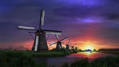 Dreamy Kinderdijk (l.cutolo) Tags: purplesky kinderdijk sharpfocusinthecentre tomapped scape park lucacutolo glow clouddetails tempest flickr path greylights windmill sunset lovelyvillages house softfocus oldtime greenfield worldtrekker perfecteffect holland hdr e1855mmf3556oss
