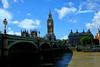 Parliament and Westminster Bridge in London, United Kingdom (` Toshio ') Tags: toshio london unitedkingdom england thamesriver river bigben parlaiment palaceofwestminster westminsterbridge bridge greatbritain sky europe european fujixt2 xt2