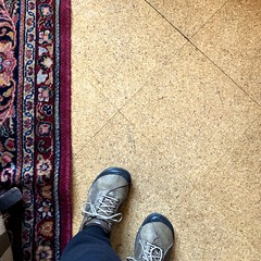 Cork Floor (Melinda Stuart) Tags: diagonal readingroom berkeley uc morrison absorbssound acoustic library carpet persian oriental rug keens feet natural material cork floor renewableresource