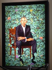 Kehinde Wiley's Portrait of Barack Obama at the National Portrait Gallery, Washington, D.C. (lhboudreau) Tags: smithsonian nationalportraitgallery portraitgallery portrait gallery art artwork painting washingtondc washington dc kehindewiley artist officialportrait formerpresident formeruspresident blackpresident firstblackpresident blackuspresident chair flora barackhusseinobamaii barackobama barackhusseinobama 2018 presidentoftheunitedstates uspresident president politician 44thpresident 44th barry presidentobama americanpresident barack obama leaves flowers number44