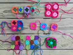 More crochet squares to be rehabbed (crochetbug13) Tags: crochet crocheted crocheting crochetbug crochetsquares grannysquares